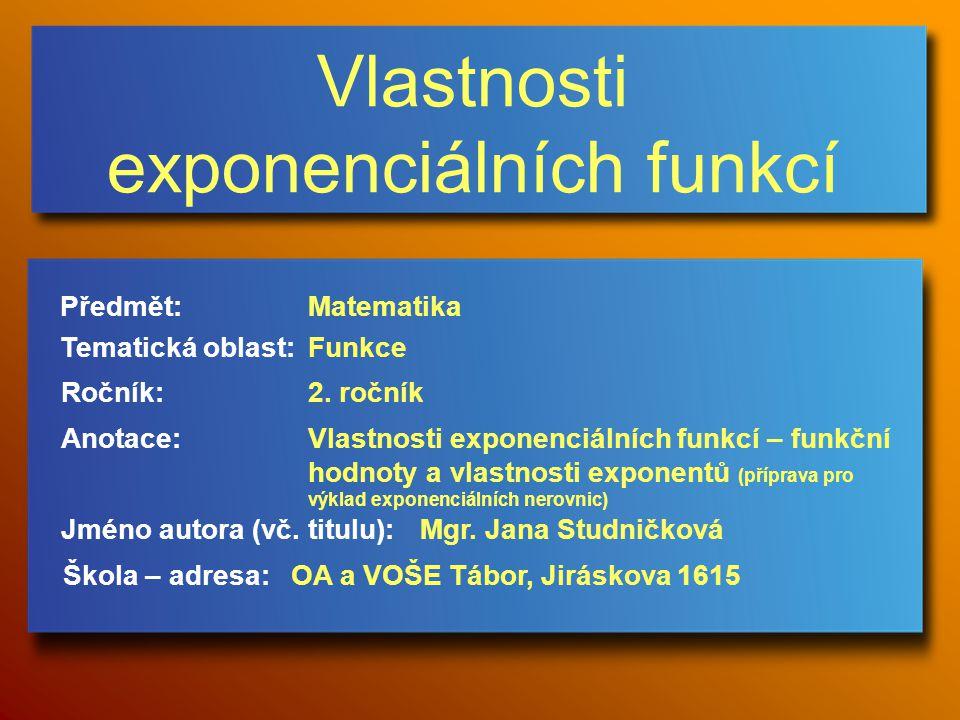 Vlastnosti exponenciálních funkcí Jméno autora (vč.