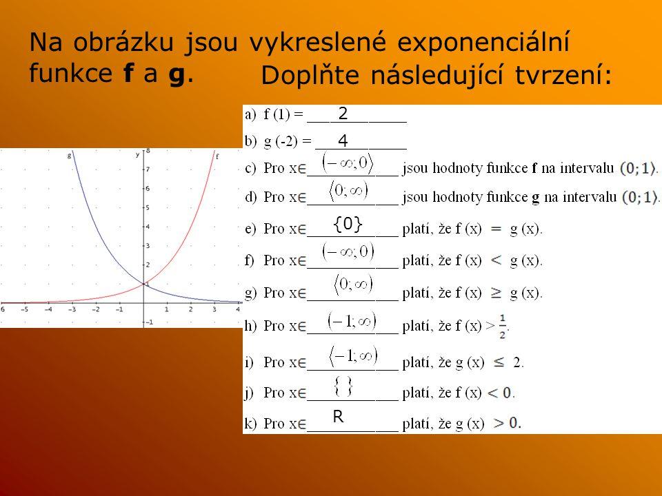 Na obrázku jsou vykreslené exponenciální funkce f a g. Doplňte následující tvrzení: 2 4 {0} R