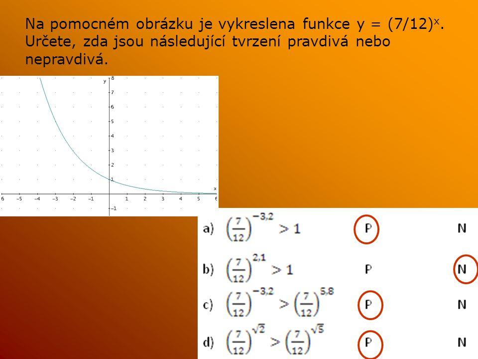 Na pomocném obrázku je vykreslena funkce y = (7/12) x. Určete, zda jsou následující tvrzení pravdivá nebo nepravdivá.