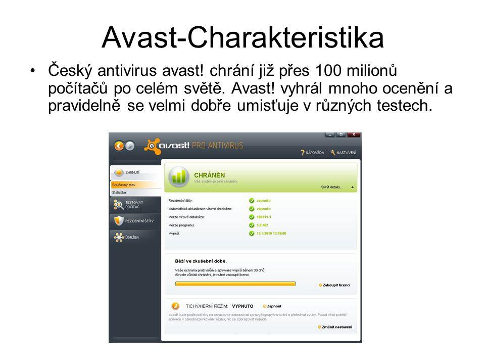 Avast-Charakteristika Český antivirus avast. chrání již přes 100 milionů počítačů po celém světě.