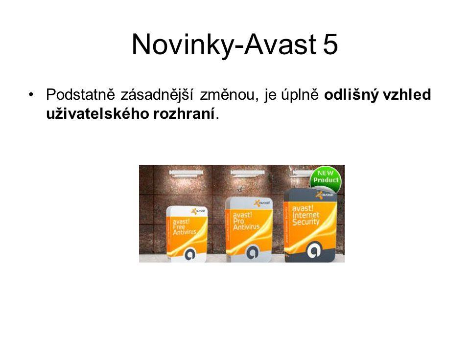 Novinky-Avast 5 Podstatně zásadnější změnou, je úplně odlišný vzhled uživatelského rozhraní.