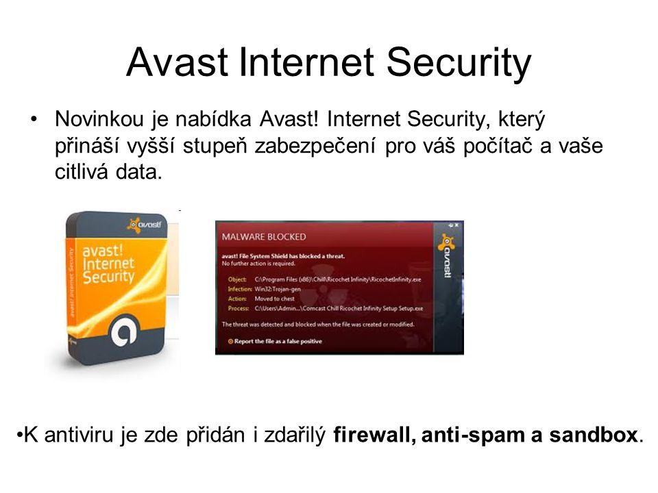 Avast Internet Security Novinkou je nabídka Avast.