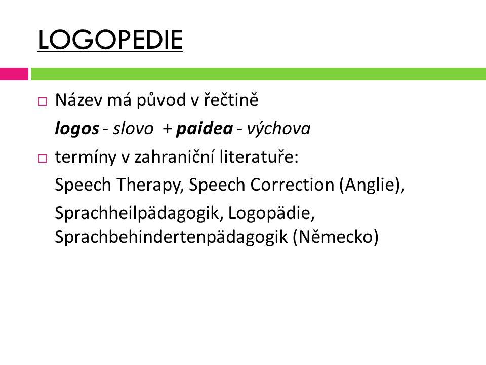 LOGOPEDIE  Název má původ v řečtině logos - slovo + paidea - výchova  termíny v zahraniční literatuře: Speech Therapy, Speech Correction (Anglie), S