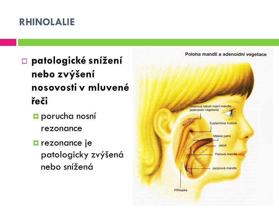 RHINOLALIE  patologické snížení nebo zvýšení nosovosti v mluvené řeči  porucha nosní rezonance  rezonance je patologicky zvýšená nebo snížená