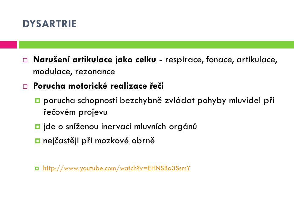 DYSARTRIE  Narušení artikulace jako celku - respirace, fonace, artikulace, modulace, rezonance  Porucha motorické realizace řeči  porucha schopnost