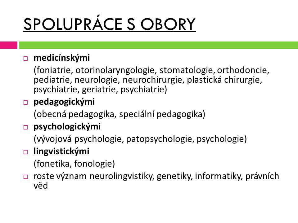SPOLUPRÁCE S OBORY  medicínskými (foniatrie, otorinolaryngologie, stomatologie, orthodoncie, pediatrie, neurologie, neurochirurgie, plastická chirurg