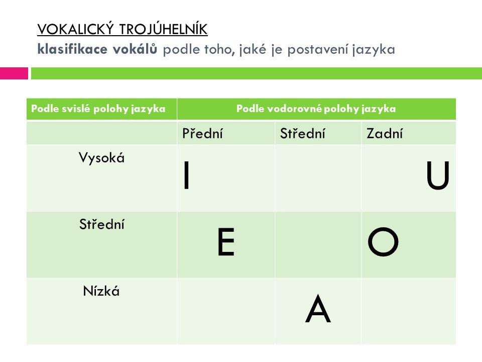 VOKALICKÝ TROJÚHELNÍK klasifikace vokálů podle toho, jaké je postavení jazyka Podle svislé polohy jazykaPodle vodorovné polohy jazyka PředníStředníZad