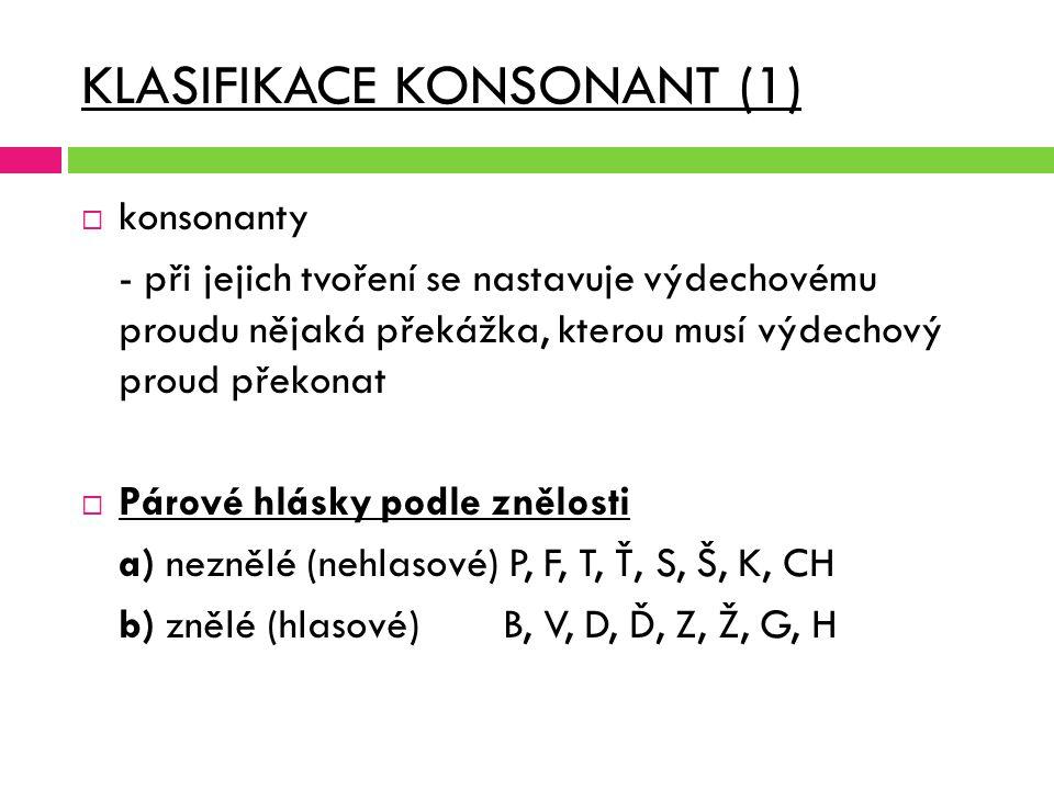 KLASIFIKACE KONSONANT (1)  konsonanty - při jejich tvoření se nastavuje výdechovému proudu nějaká překážka, kterou musí výdechový proud překonat  Pá