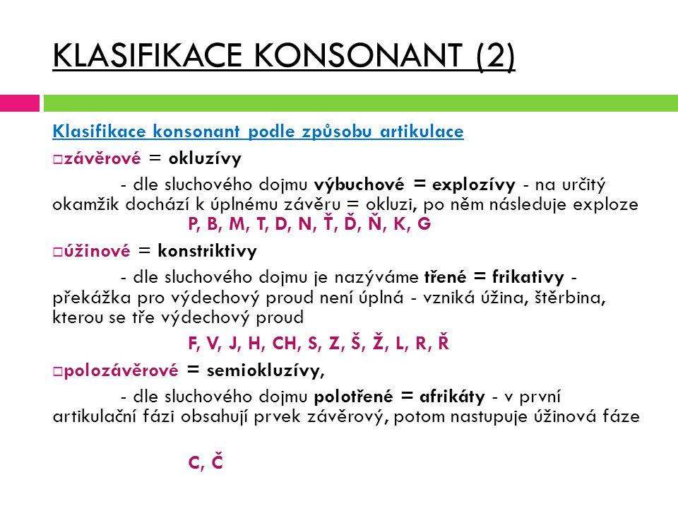 KLASIFIKACE KONSONANT (2) Klasifikace konsonant podle způsobu artikulace  závěrové = okluzívy - dle sluchového dojmu výbuchové = explozívy - na určit