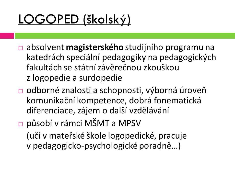 LOGOPED (školský)  absolvent magisterského studijního programu na katedrách speciální pedagogiky na pedagogických fakultách se státní závěrečnou zkou