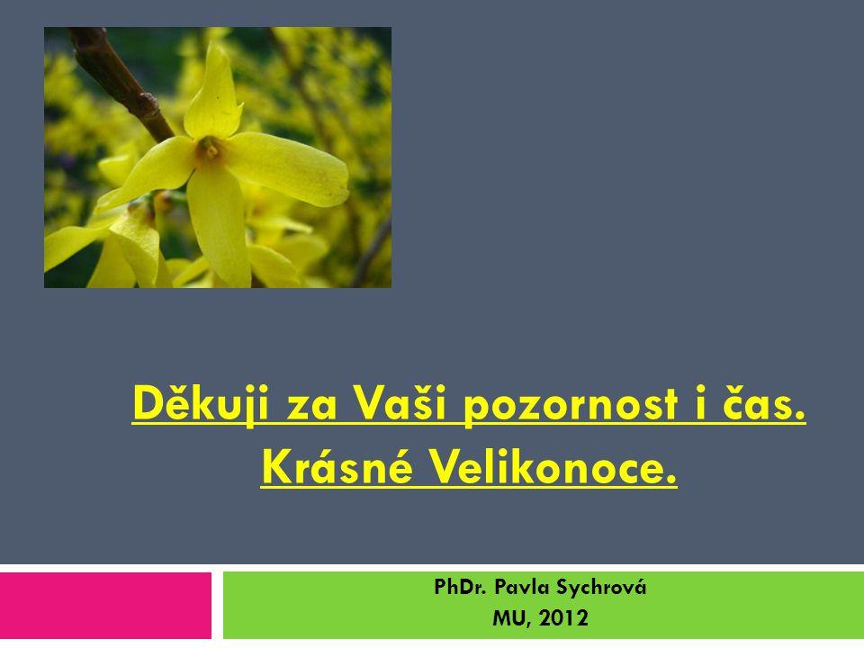 Děkuji za Vaši pozornost i čas. Krásné Velikonoce. PhDr. Pavla Sychrová MU, 2012
