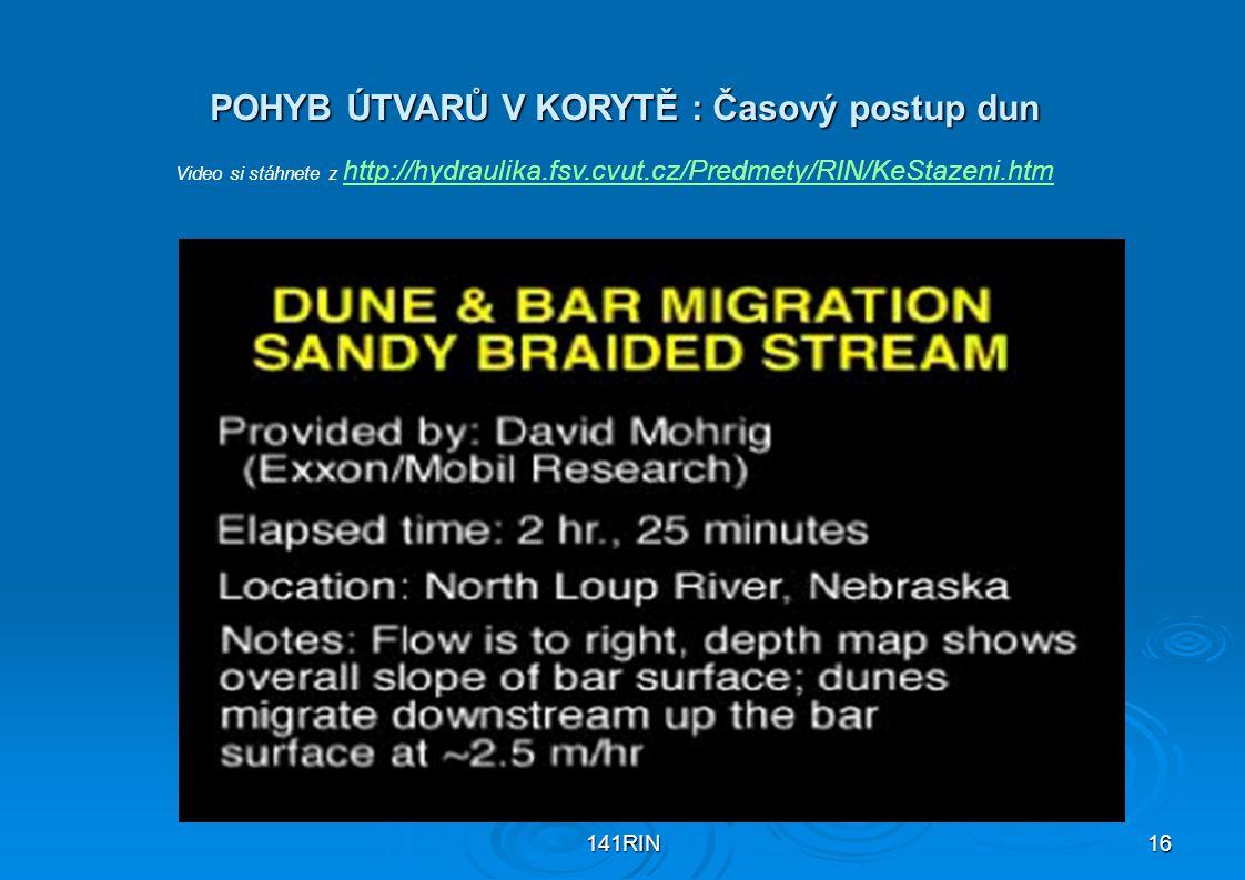 141RIN16 POHYB ÚTVARŮ V KORYTĚ : Časový postup dun Video si stáhnete z http://hydraulika.fsv.cvut.cz/Predmety/RIN/KeStazeni.htm