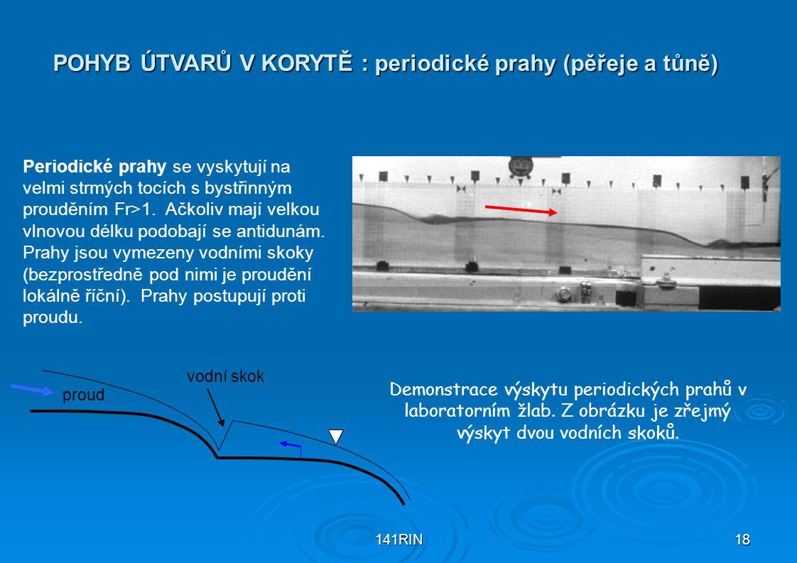 141RIN18 POHYB ÚTVARŮ V KORYTĚ : periodické prahy (pěřeje a tůně) Demonstrace výskytu periodických prahů v laboratorním žlab. Z obrázku je zřejmý výsk