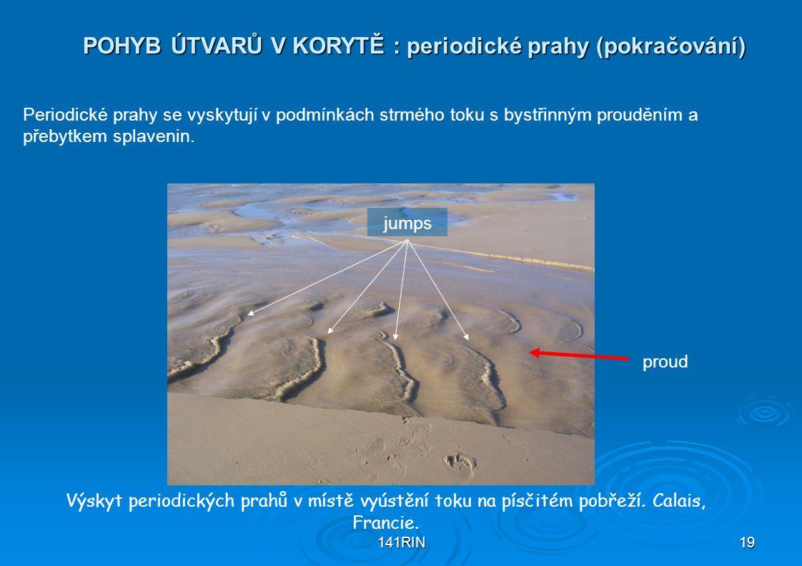 141RIN19 POHYB ÚTVARŮ V KORYTĚ : periodické prahy (pokračování) Výskyt periodických prahů v místě vyústění toku na písčitém pobřeží.