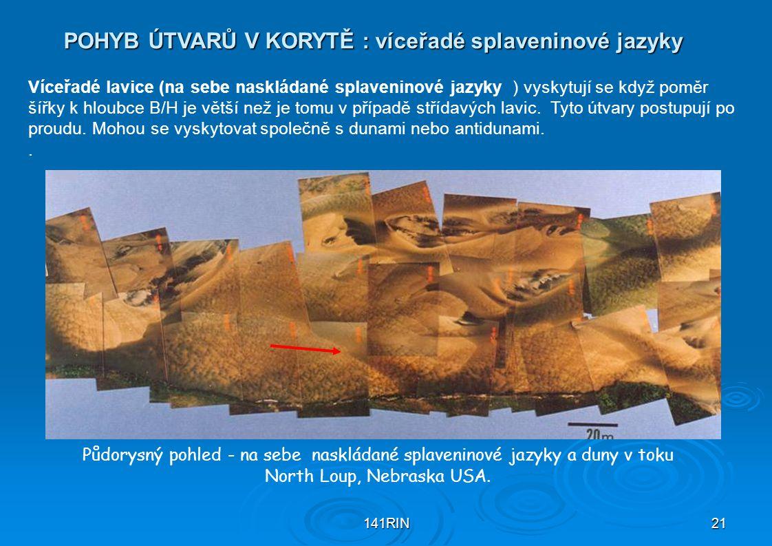 141RIN21 POHYB ÚTVARŮ V KORYTĚ : víceřadé splaveninové jazyky Půdorysný pohled - na sebe naskládané splaveninové jazyky a duny v toku North Loup, Nebr