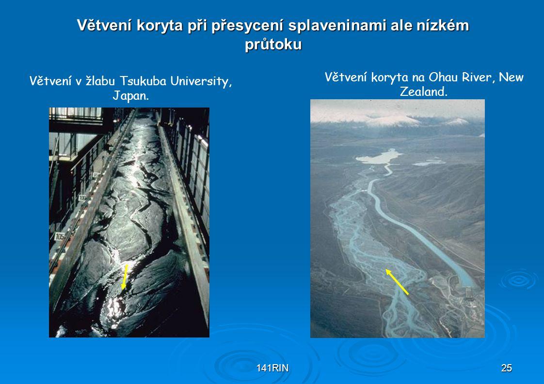 141RIN25 Větvení koryta při přesycení splaveninami ale nízkém průtoku Větvení v žlabu Tsukuba University, Japan. Větvení koryta na Ohau River, New Zea