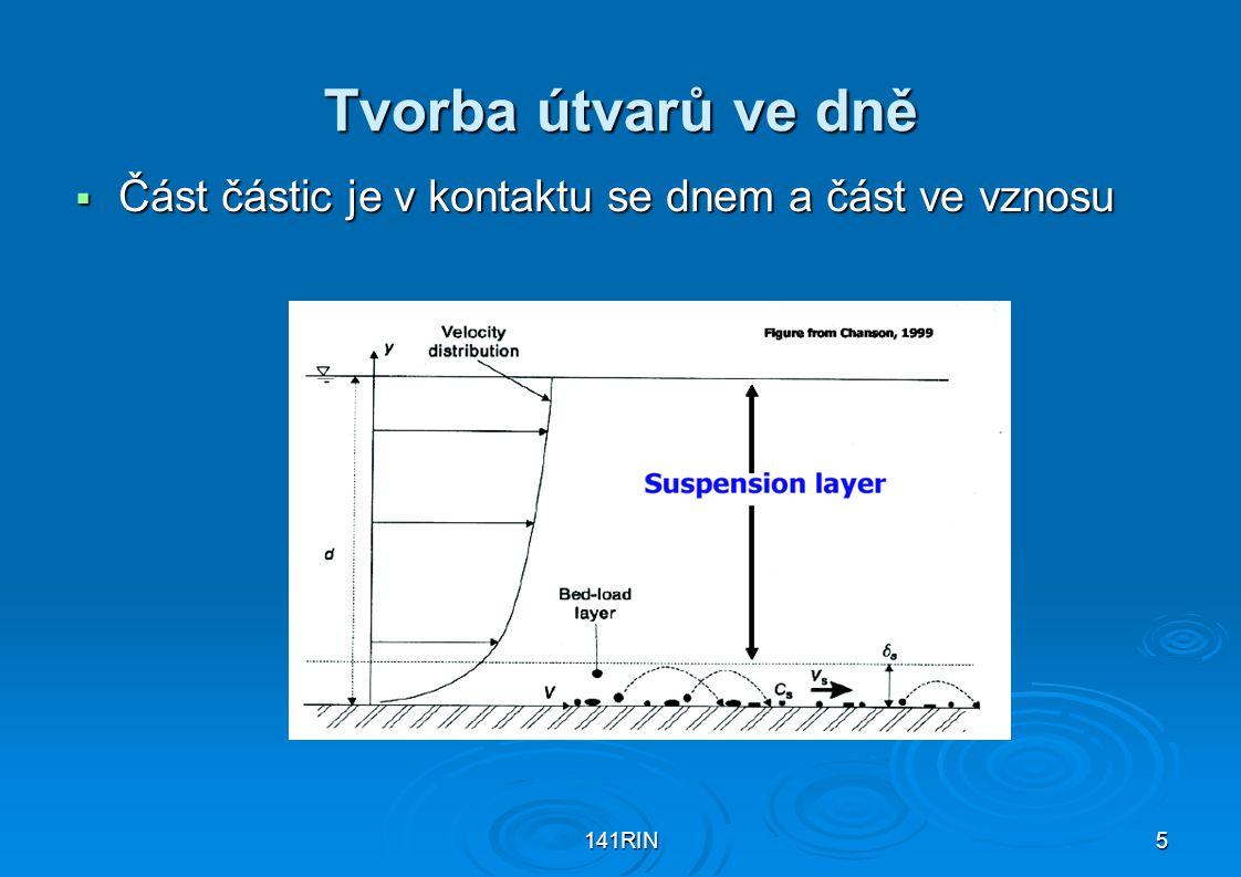 141RIN5 Tvorba útvarů ve dně  Část částic je v kontaktu se dnem a část ve vznosu