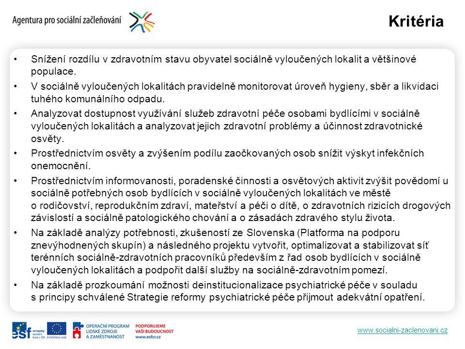 www.socialni-zaclenovani.cz Snížení rozdílu v zdravotním stavu obyvatel sociálně vyloučených lokalit a většinové populace.