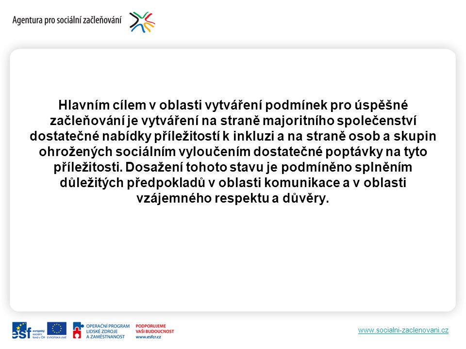 www.socialni-zaclenovani.cz A.Inkluze sociálně vyloučených prostřednictvím inkluzivní komunikace.
