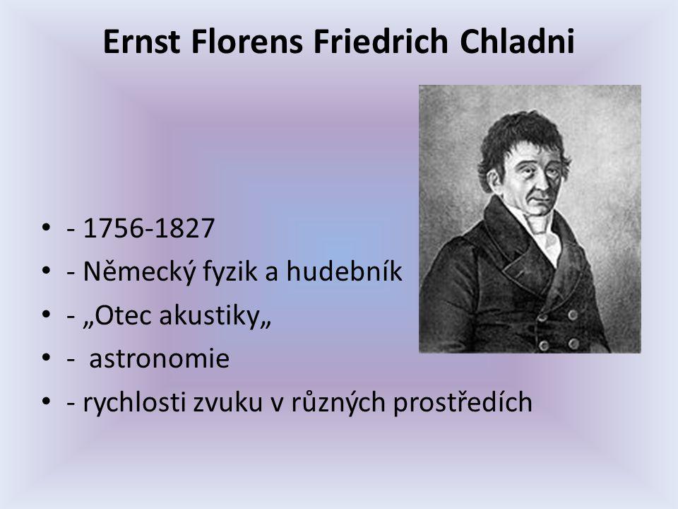 """Ernst Florens Friedrich Chladni - 1756-1827 - Německý fyzik a hudebník - """"Otec akustiky"""" - astronomie - rychlosti zvuku v různých prostředích"""