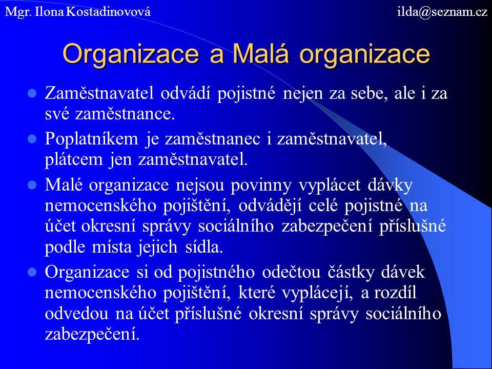 Organizace a Malá organizace Zaměstnavatel odvádí pojistné nejen za sebe, ale i za své zaměstnance.