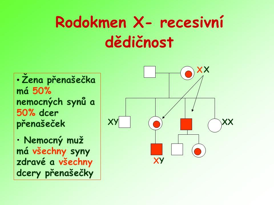 Rodokmen X- recesivní dědičnost Žena přenašečka má 50% nemocných synů a 50% dcer přenašeček Nemocný muž má všechny syny zdravé a všechny dcery přenašečky X XYXY XX X XY