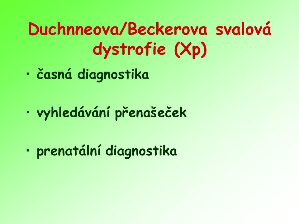 Duchnneova/Beckerova svalová dystrofie (Xp) časná diagnostika vyhledávání přenašeček prenatální diagnostika