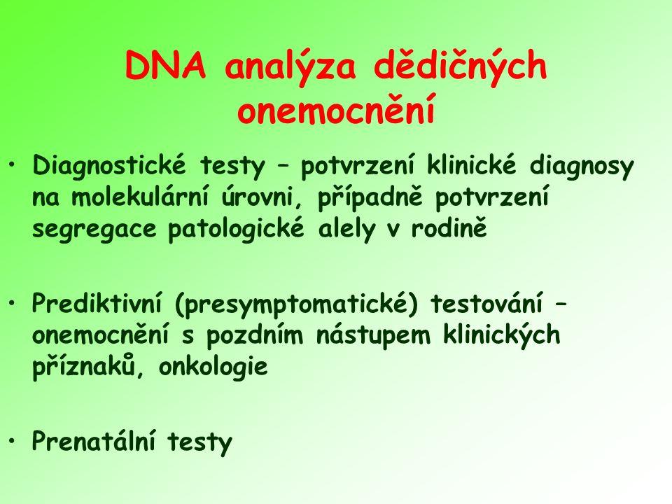 DNA analýza dědičných onemocnění Diagnostické testy – potvrzení klinické diagnosy na molekulární úrovni, případně potvrzení segregace patologické alely v rodině Prediktivní (presymptomatické) testování – onemocnění s pozdním nástupem klinických příznaků, onkologie Prenatální testy