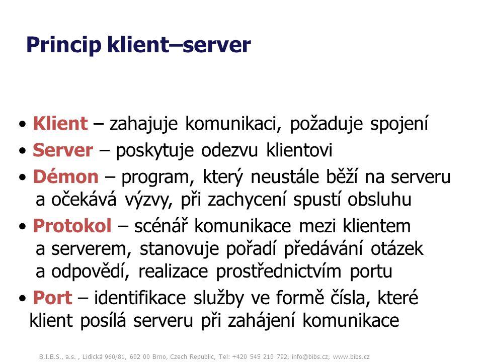 B.I.B.S., a.s., Lidická 960/81, 602 00 Brno, Czech Republic, Tel: +420 545 210 792, info@bibs.cz, www.bibs.cz Princip klient–server Server – poskytuje