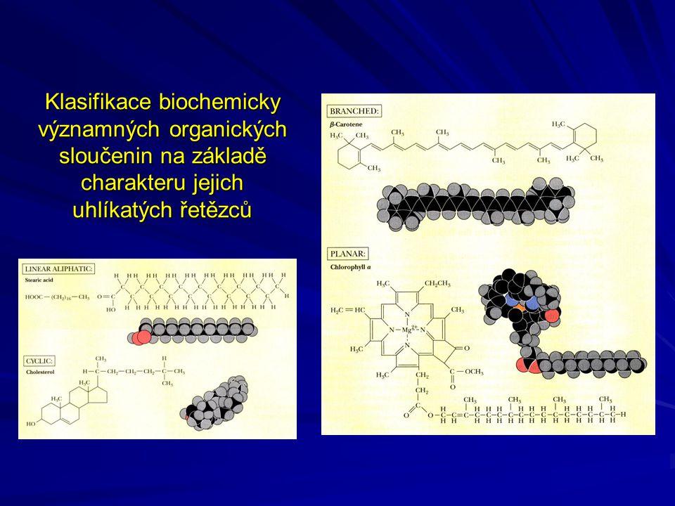 Klasifikace biochemicky významných organických sloučenin na základě charakteru jejich uhlíkatých řetězců