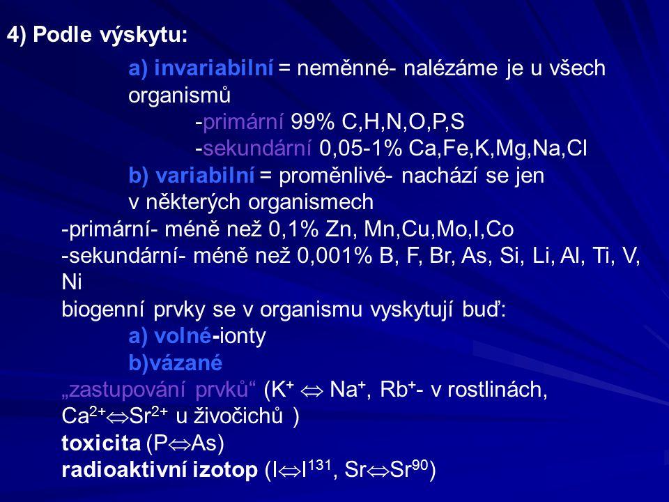 """a) invariabilní = neměnné- nalézáme je u všech organismů -primární 99% C,H,N,O,P,S -sekundární 0,05-1% Ca,Fe,K,Mg,Na,Cl b) variabilní = proměnlivé- nachází se jen v některých organismech -primární- méně než 0,1% Zn, Mn,Cu,Mo,I,Co -sekundární- méně než 0,001% B, F, Br, As, Si, Li, Al, Ti, V, Ni biogenní prvky se v organismu vyskytují buď: a) volné-ionty b)vázané """"zastupování prvků (K +  Na +, Rb + - v rostlinách, Ca 2+  Sr 2+ u živočichů ) toxicita (P  As) radioaktivní izotop (I  I 131, Sr  Sr 90 ) 4) Podle výskytu:"""