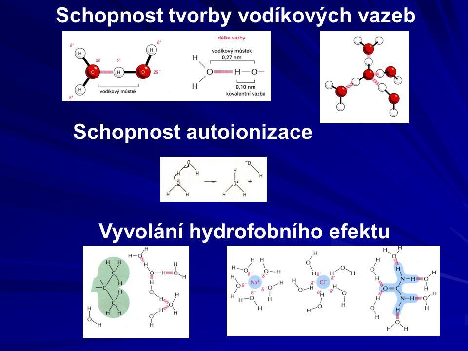 Schopnost tvorby vodíkových vazeb Vyvolání hydrofobního efektu Schopnost autoionizace