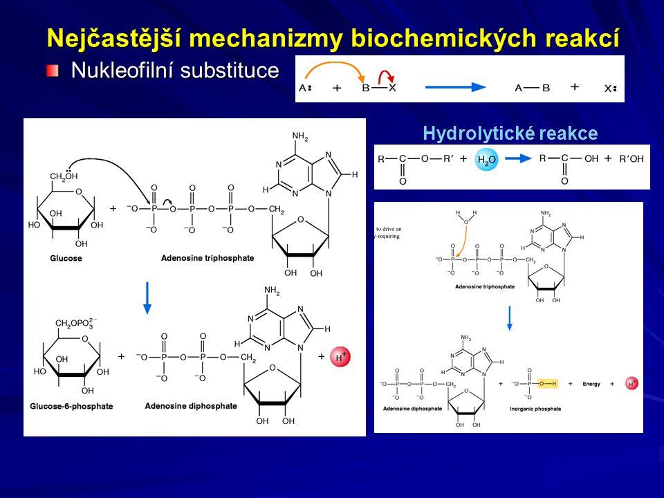 Nejčastější mechanizmy biochemických reakcí Nukleofilní substituce Hydrolytické reakce