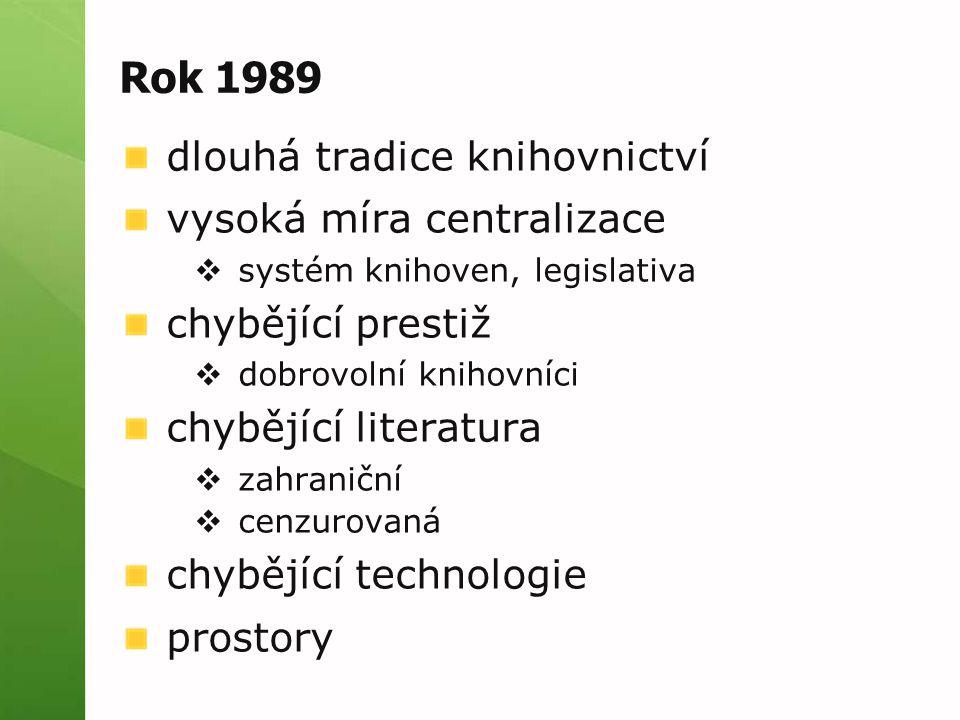 Rok 1989 dlouhá tradice knihovnictví vysoká míra centralizace  systém knihoven, legislativa chybějící prestiž  dobrovolní knihovníci chybějící literatura  zahraniční  cenzurovaná chybějící technologie prostory