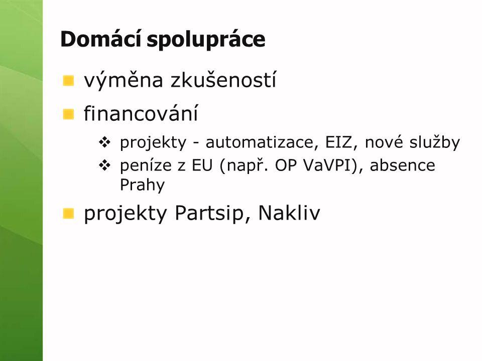 Domácí spolupráce výměna zkušeností financování  projekty - automatizace, EIZ, nové služby  peníze z EU (např. OP VaVPI), absence Prahy projekty Par