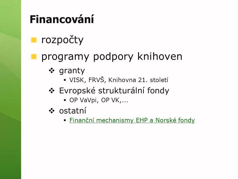 Financování rozpočty programy podpory knihoven  granty  VISK, FRVŠ, Knihovna 21. století  Evropské strukturální fondy  OP VaVpi, OP VK,...  ostat