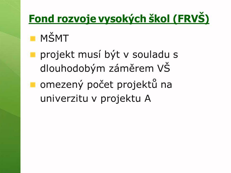 Fond rozvoje vysokých škol (FRVŠ) MŠMT projekt musí být v souladu s dlouhodobým záměrem VŠ omezený počet projektů na univerzitu v projektu A