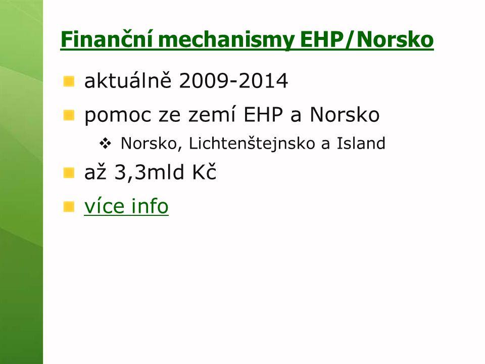 Finanční mechanismy EHP/Norsko aktuálně 2009-2014 pomoc ze zemí EHP a Norsko  Norsko, Lichtenštejnsko a Island až 3,3mld Kč více info