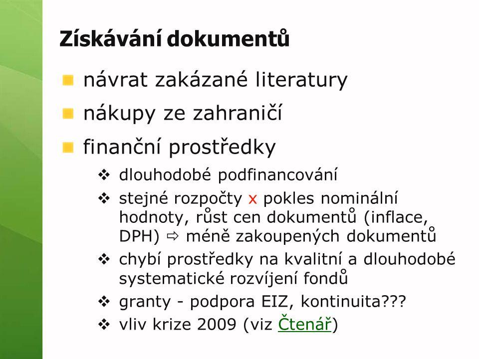Získávání dokumentů návrat zakázané literatury nákupy ze zahraničí finanční prostředky  dlouhodobé podfinancování  stejné rozpočty x pokles nomináln