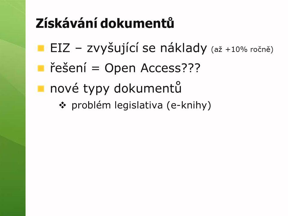 Získávání dokumentů EIZ – zvyšující se náklady (až +10% ročně) řešení = Open Access??? nové typy dokumentů  problém legislativa (e-knihy)