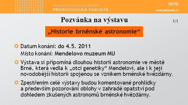 www.ped.muni.cz  Datum konání: do 4.5.
