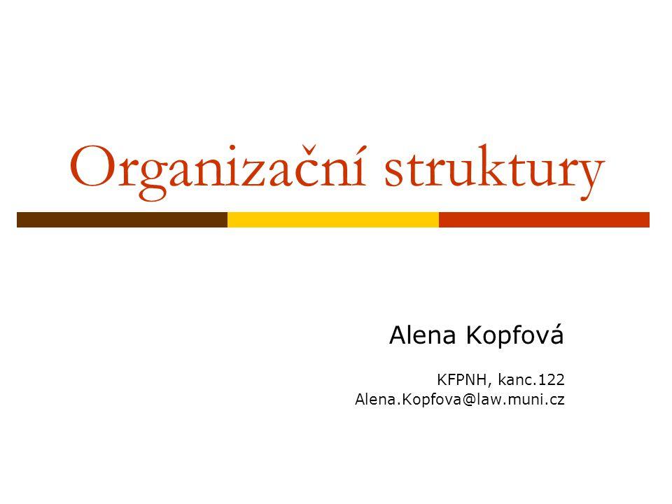 Organizační struktury Alena Kopfová KFPNH, kanc.122 Alena.Kopfova@law.muni.cz