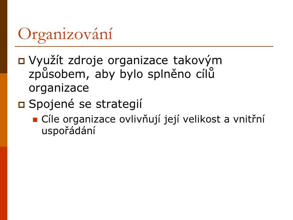 Organizování  Využít zdroje organizace takovým způsobem, aby bylo splněno cílů organizace  Spojené se strategií Cíle organizace ovlivňují její velik
