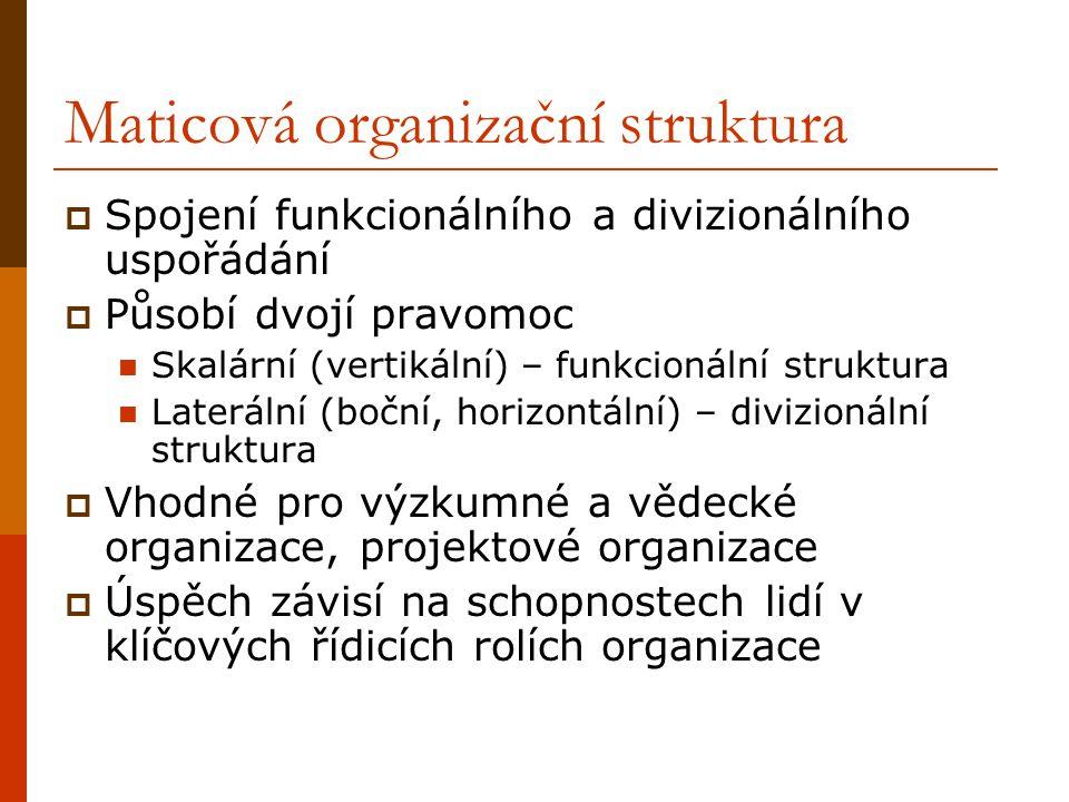 Maticová organizační struktura  Spojení funkcionálního a divizionálního uspořádání  Působí dvojí pravomoc Skalární (vertikální) – funkcionální struk