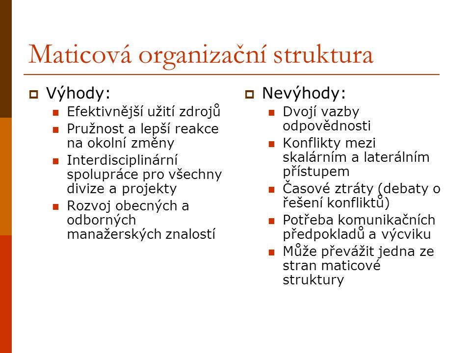 Maticová organizační struktura  Výhody: Efektivnější užití zdrojů Pružnost a lepší reakce na okolní změny Interdisciplinární spolupráce pro všechny d