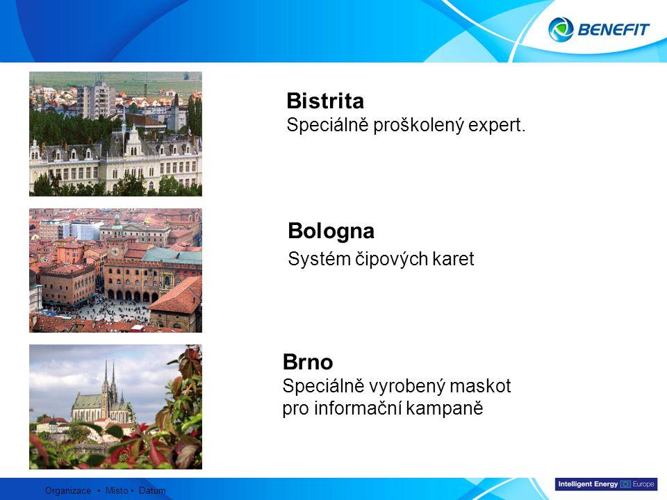 Topic Organizace Místo Datum Bistrita Speciálně proškolený expert. Bologna Systém čipových karet Brno Speciálně vyrobený maskot pro informační kampaně