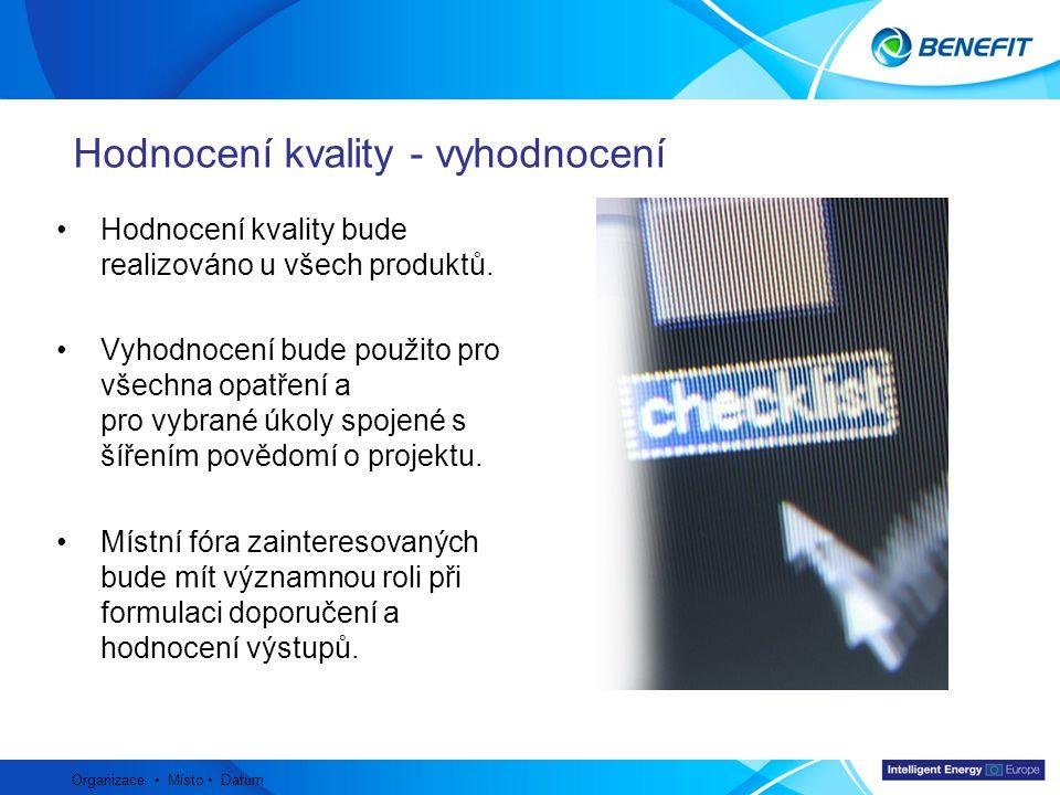 Topic Organizace Místo Datum Hodnocení kvality bude realizováno u všech produktů. Vyhodnocení bude použito pro všechna opatření a pro vybrané úkoly sp