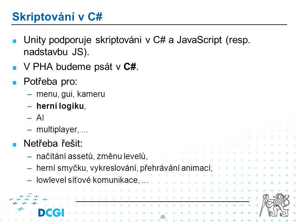 (6) Skriptování v C# Unity podporuje skriptováni v C# a JavaScript (resp. nadstavbu JS). V PHA budeme psát v C#. Potřeba pro: –menu, gui, kameru –hern