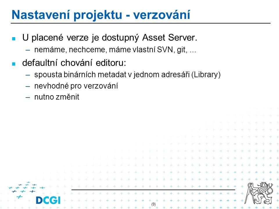 Nastavení projektu - verzování U placené verze je dostupný Asset Server. –nemáme, nechceme, máme vlastní SVN, git,... defaultní chování editoru: –spou