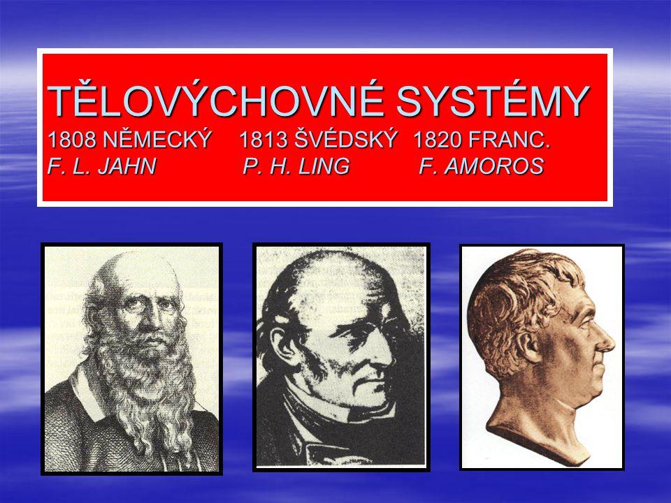 TĚLOVÝCHOVNÉ SYSTÉMY 1808 NĚMECKÝ 1813 ŠVÉDSKÝ 1820 FRANC. F. L. JAHN P. H. LING F. AMOROS
